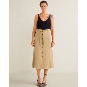 Mango Buttoned midi skirt Size XS